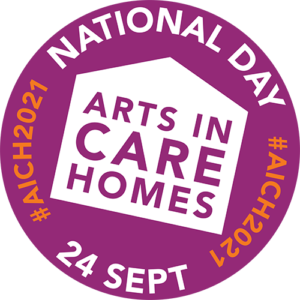 The Arts In Care Homes logo in a purple circle surrounded by #AICH2021