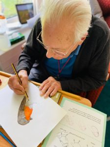 An elderly man sits at a table drawing a picture of a robin. He is wearing a grey jumper and wears glasses.